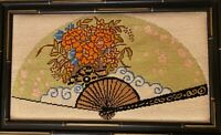 Vintage Completed Bamboo Framed Japanese Fan Half Cross Needlepoint Tent Stitch