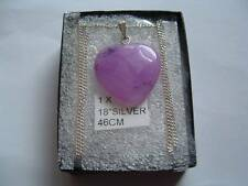 Sterling Silver 925 18ins chain with pink Jade pendant gift box.