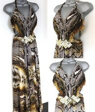 NEW Paula Richi Couture Animal Embellished Evening Occasion Prom Maxi Dress 10