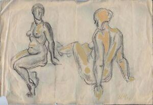 """Expressionist Bleistift Papier """"Akt"""" 62x42 cm"""
