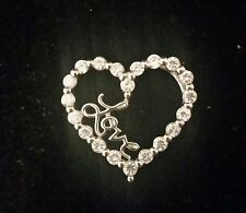 Sterling Silver 'LOVE' Heart Pendant with sparkling CZ'S....NICE!!!