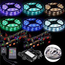 5050 RGB 5M 300 LED SMD 12V Strip Light + IR Music Sound Controller + 5A Adapter