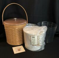 Longaberger Ice Bucket Basket w/ Serving Solutions Insert, Wood Lid, & Protector