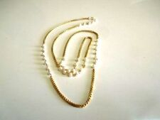 """South Indian Gold Plated White Fancy Pearl Fashion Necklace Thin Chain 20"""" Long"""