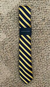 Boys Tommy Hilfiger Untied Neck Tie Navy & Yellow Gold Stripe 100% Polyester