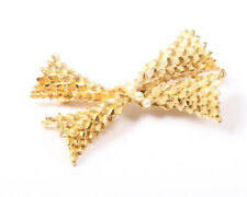 BSK Vintage 1950s Gold Tone and Faux Pearl Bow Brooch