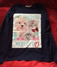 H&M, Girls Age 6-8yrs Puppy & Kitten Long Sleeve T-Shirt.