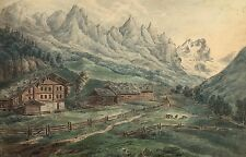 ALTER HOF IN DEN ALPEN - 23. 7. 1846 DATIERT - GELDNER - ROMANTIK BIEDERMEIER