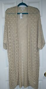 NEW Maurices Cotton Crochet Lace Open Cardigan Maxi Duster NWT Plus 1x