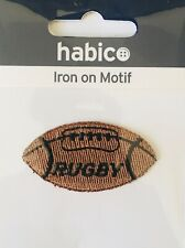 Habico Brown Rugby Ball Sport Iron On Motif Patch Child or Adult Embellishment