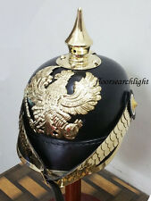 PRUSSIAN LEATHER PICKELHAUBE GERMAN HELMET WWI W/ ENLIST SPIKE CHIN SCALE ARMOR