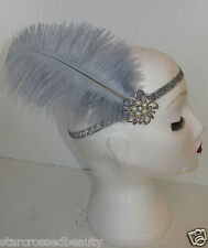 Grau Silber Straußen-feder Flapper Stirnband Haarband 1920s Great Gatsby L87
