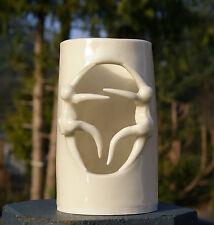 Naked Candle Holder Luminary White Signed Palmer Handmade Pottery Art Nude