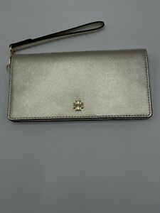 Tory Burch Emerson Slim Wristlet Envelope Wallet Metallic White Gold Clutch  NWT