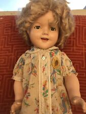 """Shirley Temple Vintage Ideal 22"""" Composition Doll With Pin/Original"""