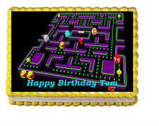 Pac Man Birthday Party Edible Cake Topper 1/4 frosting icing sheet