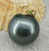 Huge AAA+ 16mm South Sea black Shell Pearl 14K GOLD PENDANT