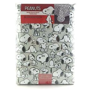 "Peanuts SNOOPY Woodstock Peva Flannel Back Vinyl Tablecloth 60"" X 84"" Oblong NEW"