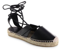 JIMMY CHOO Darby Vac Leather Lace-Up Espadrilles - SIZE US 9 NEW WITH BOX