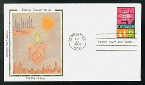 1547 Energy Conservation Colorano Silk Cachet USA 1974 FDC LOT A51
