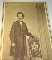 Antique Victorian American Civil War Handsome Gent, Big Hair & Hat CDV Photo! US
