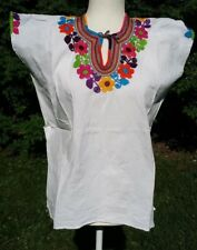 Maya Mexican Blouse Top Shirt Embroidered Flowers Huipil Chiapas White M C050