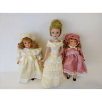"3 Vintage Renaissance Miniature Porcelain Dolls Mother 2 Daughters 6"" - 7.5"""