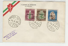 FRANCOBOLLI 1950 TRIESTE A TABACCO 3 VALORI SU FDC Z/3636