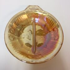 Vintage Carnival Glass Divided Candy Nut Dish Iridescent Marigold MCM 1 Handle