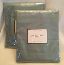 "2 Silk Dupioni Drapes by Pottery Barn Pole top 50x84"" Panels Sage Green Set"