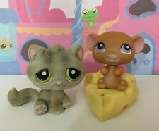 ~♥~Littlest Pet Shop x 2 ~♥~#323#324 Grey Fuzzy Cat Brown Mouse And Cheese
