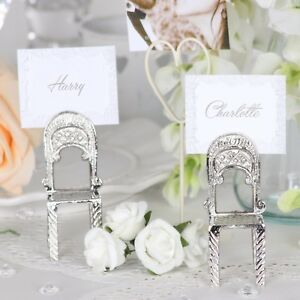 Ornate Silver Chair Shaped Place Name Card Table Number Holders