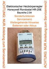 Heft mit Anleitung zum Servicemenü für Honeywell Rondostat HR-20E Baureihe 2.04