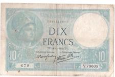 Billet 10 francs Minerve 1940 TTB
