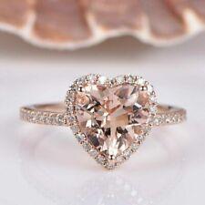 3.00Ct Heart Cut Morganite Halo Engagement Ring 14K Rose Gold Finish
