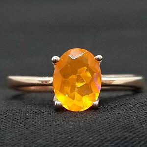Genuine 1.45ct Mexican Fire Opal 14K Rose Gold 925 Sterling Silver Ring Size 7