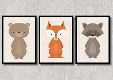 Bild Set Wald Tiere Kunstdruck A4 Bär Fuchs Waschbär Kinderzimmer Deko Geschenk