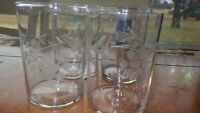 Vintage Juice glasses grape vine design 4 9 ounce flat bottom juice glasses