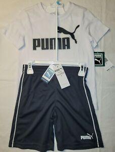 New Puma Kids Youth Tee & Shorts 2 Piece Set White & Gray Size 5 FREE SHIPPING!