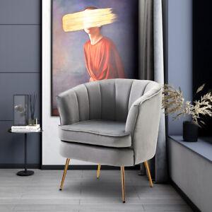 Modern Wooden Velvet Armchair Upholstered Accent Sofa Round Back Tub Chair Grey