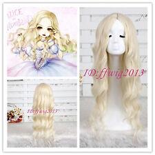 Alice In Wonderland White Queen wave curly women lady Light Blonde cosplay Wig
