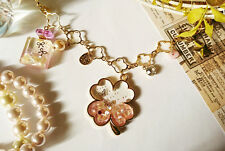 Handcraft Bag Accessory Pink Clover/Perfume Bottle Motif Gemstone/Swarovski JPN