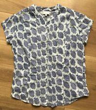EAST blouse pineapple pintuck front top 100% cotton white lilac print UK12 EU40