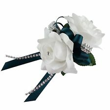 Wrist corsage-White rose Teal ribbon Rhinestone Bling-silk flower prom wedding
