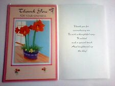 1 Thank You Greeting Card/Envelope Flower Family Thoughtful Kind Friend Neighbor