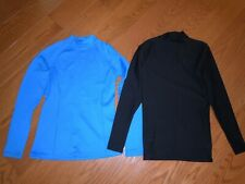 Womens base layer athletic shirts tops black & blue Size Small EUC under armour