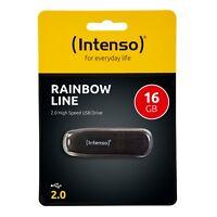 Intenso Rainbow Line 2.0 USB Stick 16 GB Speicherstick 16GB schwarz 3502470 OVP