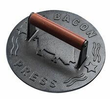 Cast Iron Grill Press, Heavy-duty bacon press with Wood Handle, 8.75-Inch Round