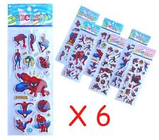 Spiderman Sticker Sheets x 6 Superhero Birthday Party Lolly Bag Treat Box Filler