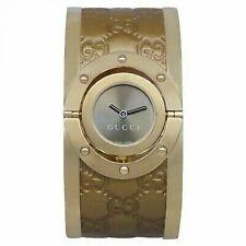 b0eafc6d7fd Gucci Women s YA112434 Twirl Gold Guccissima Leather Bangle Watch